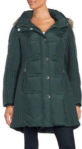 Anne Klein Anne Klein Faux Fur-Trimmed Quilted Jacket