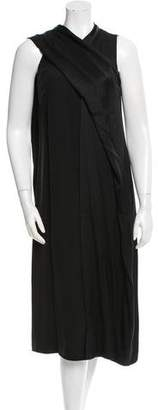 Celine Silk Draped-Accented Dress w/ Tags