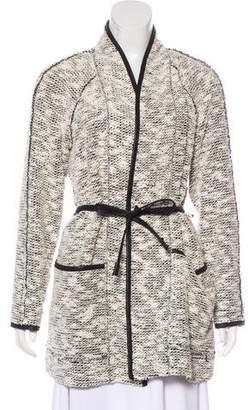 Rebecca Taylor Faux Leather-Trimmed Bouclé Coat