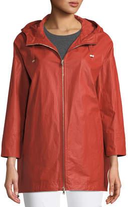 Herno Waxed Cotton A-Line Raincoat w/ Hood
