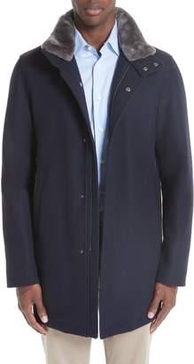 Herno Genuine Beaver Fur Collar Wool Blend Coat