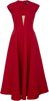 Paule Ka Cap Sleeve Volumed Dress with Nude Illusion V-neck $1,130 thestylecure.com
