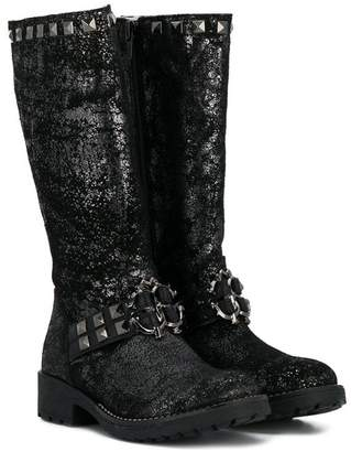 Roberto Cavalli Junior metallic studded knee high boots