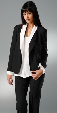 Alexander Wang Boyfriend Blazer with Illusion Collar