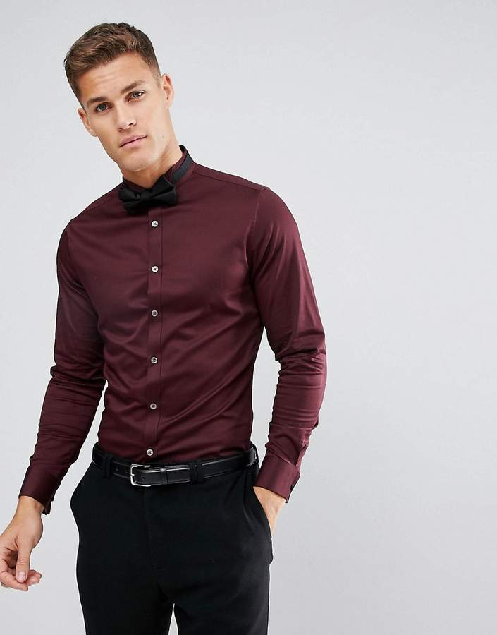 Asos Slim Sateen Shirt In Burgundy With Wing Collar And Double Cuff
