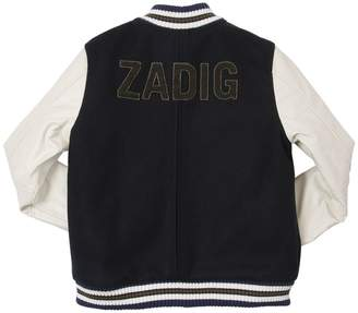 Zadig & Voltaire Felt Wool & Faux Leather Bomber Jacket