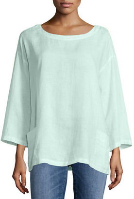 Eileen Fisher Organic Handkerchief Linen Tunic w/ Pockets $188 thestylecure.com