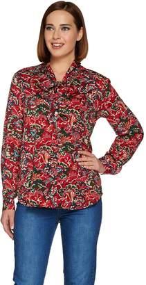 C. Wonder Tie Neck Floral Print Button Front Blouse