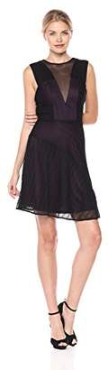 GUESS Women's Fit and Flare Lace Dress with Mesh Detail
