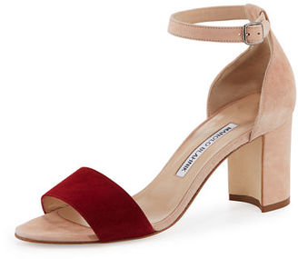 Manolo Blahnik Lauratomod Colorblock Suede Ankle-Wrap Sandal, White/Red $745 thestylecure.com
