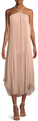 Ramy Brook Catalina Pleated Georgette Halter Midi Dress