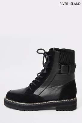 River Island Womens Black North Low Heeled Biker Boots - Black