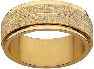 Yellow Ion-Plated Stainless Steel Frosted Spinner Wedding Band - Men