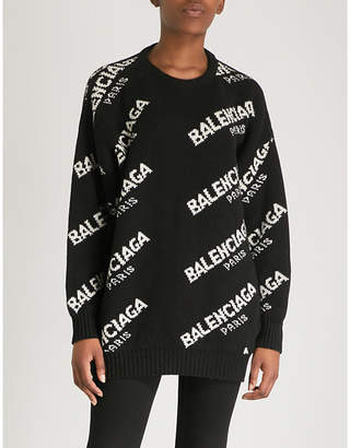 Balenciaga Boxy logo wool-blend jumper