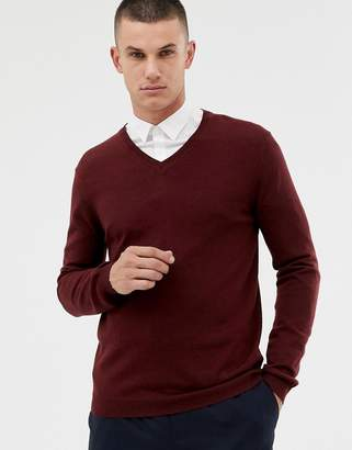 Asos DESIGN merino wool v-neck sweater in burgundy