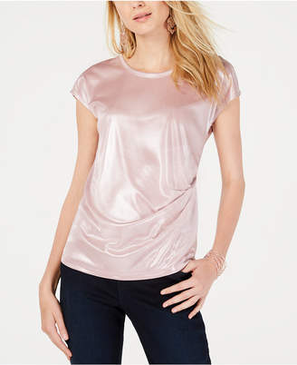 INC International Concepts I.N.C. Metallic Twisted T-Shirt, Created for Macy's