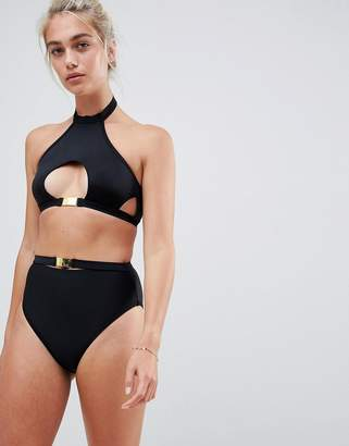 New Look Hardwear Detail High Waist Bikini Bottom