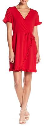 Just For Wraps Ruffle Trim Wrap Dress