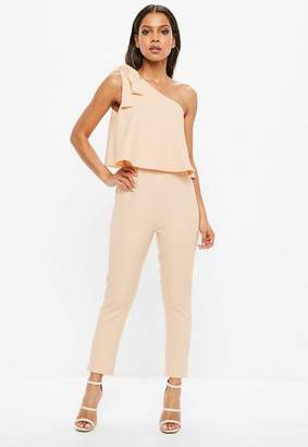 Missguided Nude One Shoulder Bow Romper