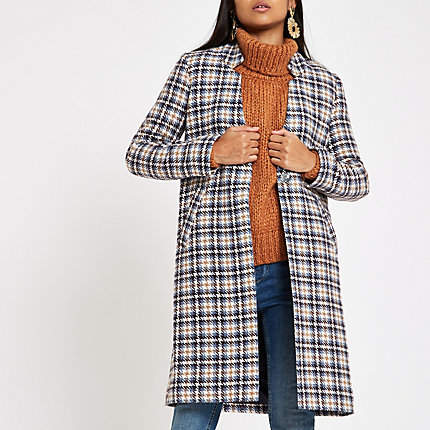 Womens Petite Blue check tailored coat