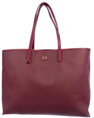 Tory Burch Leather-Trimmed Logo Canvas Tote