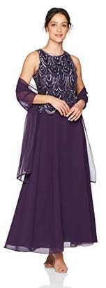 J Kara Women's Petite Sleeveless Beaded Pop Over Dress With Scarf