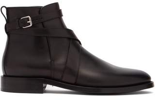 Burberry Pryle Ankle Strap Leather Boots - Mens - Black