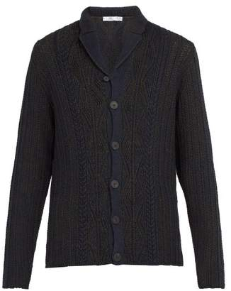 Inis Meáin Inis Meain - Cable Knit Linen And Cotton Blend Cardigan - Mens - Navy Multi