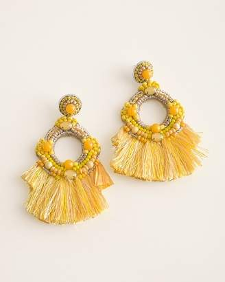 Chico's Chicos Yellow Beaded Fringe Chandelier Earrings