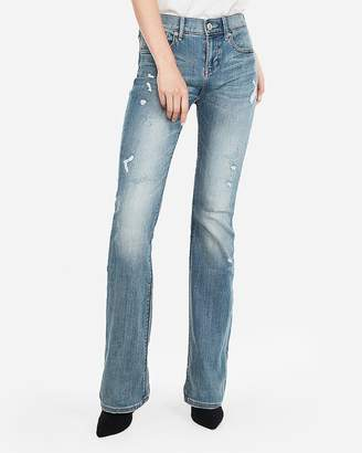 Express Petite Mid Rise Distressed Stretch Barely Boot Jeans