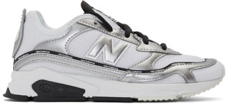 New Balance White and Silver X-Racer Sneakers
