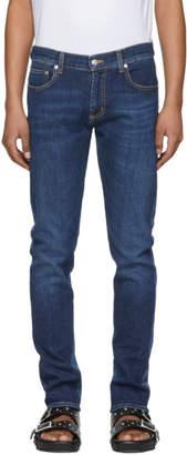 Alexander McQueen Blue Two-Tone Skinny Jeans