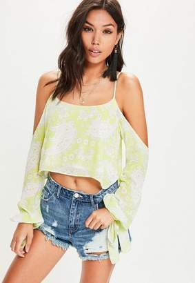 Missguided Green Cold Shoulder Tie Sleeve Paisley Print Crop Blouse