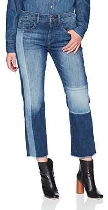 Madison Women's Crosby Mid Rise Straight Leg Crop Jean W/Patchwork