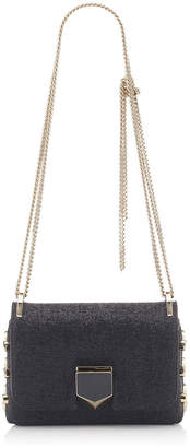 Jimmy Choo LOCKETT MINI Black Shiny Wetlook Fabric Shoulder Bag