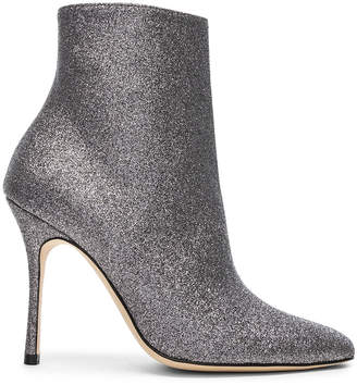 Manolo Blahnik Glitter Insopo 105 Boots in Anthracite | FWRD