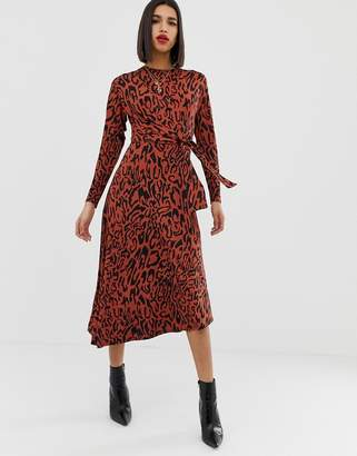 Asos Design DESIGN tie waist maxi dress in animal print