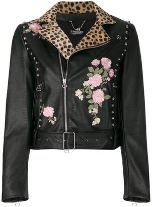 Twin-Set embroidered biker jacket