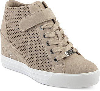 GUESS Women's Decia Wedge Sneakers $89 thestylecure.com