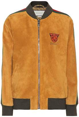 Gucci Embroidered suede bomber jacket