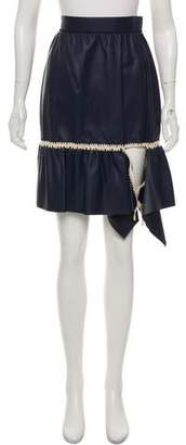 Loewe Embroidered Leather Skirt