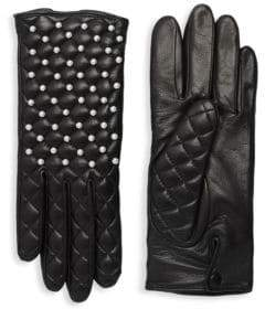 Agnelle Chloe Quilted Leather Pearl Gloves