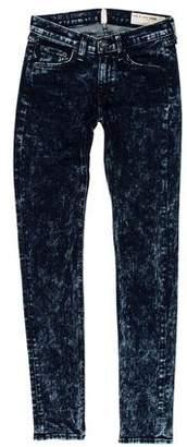 Rag & Bone Acid Wash Mid-Rise Skinny Jeans