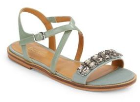 Jewelana Flat Sandals $99 thestylecure.com