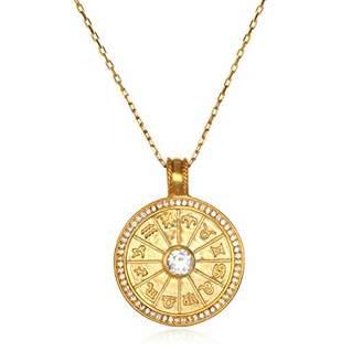 Satya Jewelry Women's White Topaz Zodiac Pendant Necklace (32-Inch)