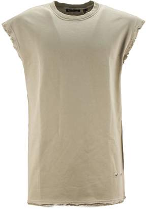 Helmut Lang Beige Cotton Tank With Raw Cut.