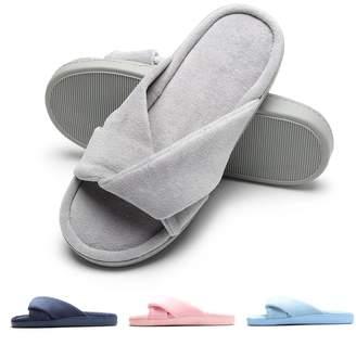 Fly London HAWK Women Open Toe Slide House Slippers Cozy Velvet Memory Foam Indoor Shoes