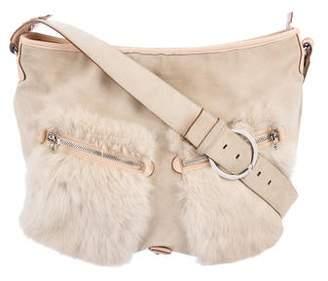 Salvatore Ferragamo Fur-Trimmed Suede Messenger Bag 5c8acf0041c33