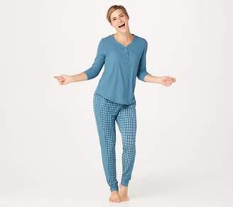 Cuddl Duds Smooth Jersey Rib Henley Pajama Set