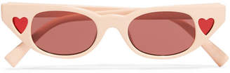 Le Specs Adam Selman The Heartbreaker Cat-eye Acetate Sunglasses - Blush